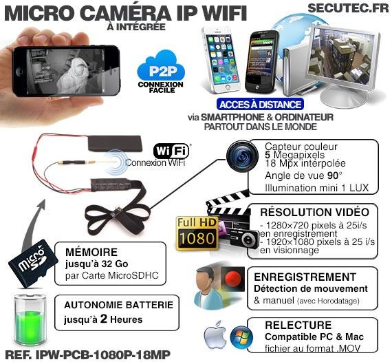 Active Media Concept IPW-PCB-1080P-18MP  Micro Caméra et