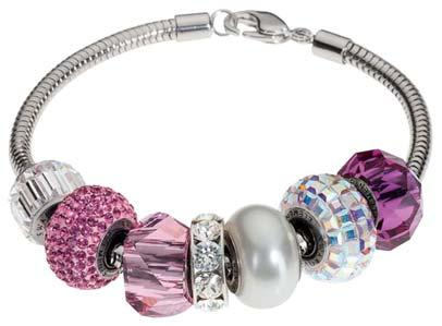 SWAROVSKI européen Fit Bracelet Charme Inoxydable BeCharmed Pave Crystal beads